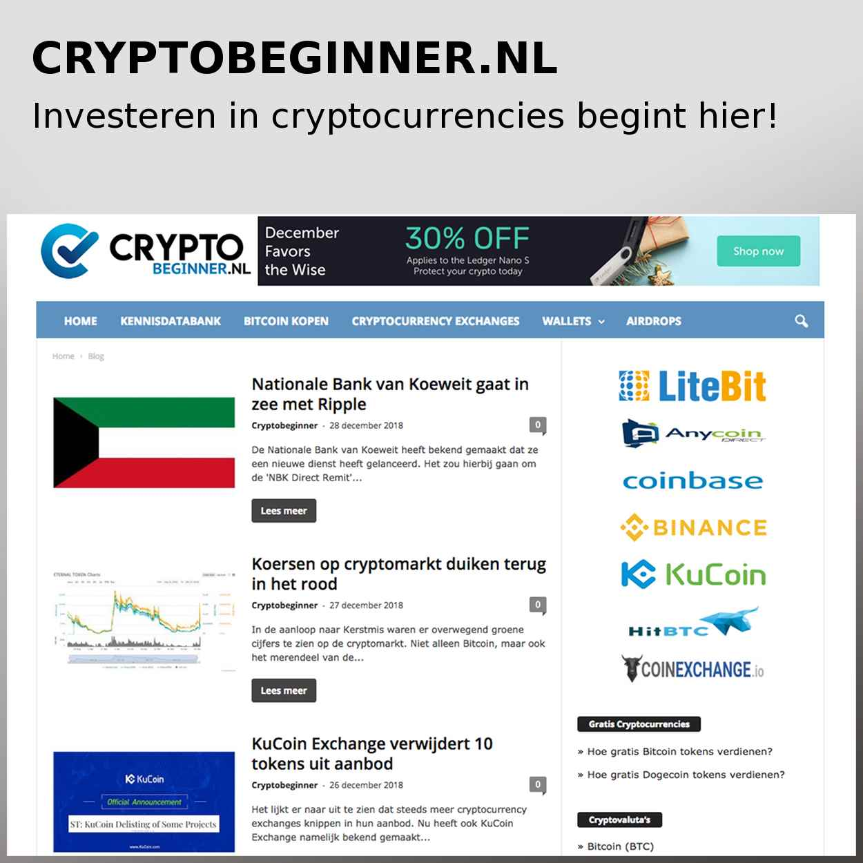 Cryptobeginner.nl; beleggen in cryptocurrencies begint hier!