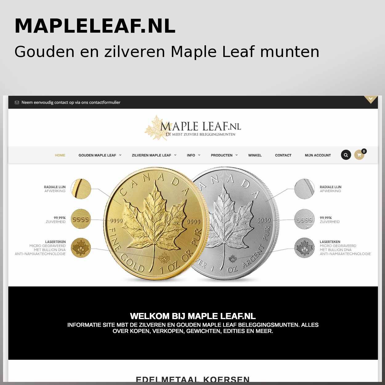 Gouden en zilveren Maple Leaf munten